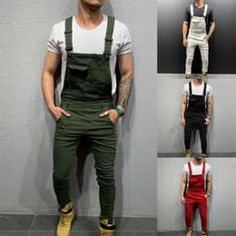 2019 mono de los hombres de alta moda Jeans para hombre High Street Pockets Jeans Hombres Moda Slim Fit Denim Monos Modish Strap Monos Casual Suspender Jeans desgastados Pantalón mono de los hombres de alta moda baratos