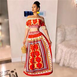2019 robes tropicales Femmes Sexy Sans Bretelles 2PCS Robe Rouge Imprimer Slash Neck Dress Tropical Robe De Costume De Style Amoureux robes tropicales pas cher