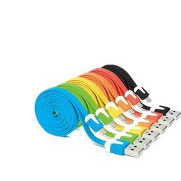2019 câbles de nouilles v8 Câble de données micro USB de nouilles plat coloré 1M 3FT de charge adaptateur câble de tête en métal souple V8 pour Smartphone Android câbles de nouilles v8 pas cher