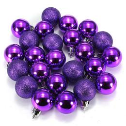 palla di natale ornamento viola Sconti 24Pcs Chic Bagattelle natalizie Albero Plain Glitter XMAS Ornament Ball Decoration Purple
