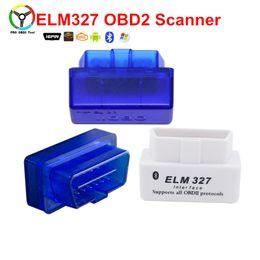 2019 lector de código de diagnóstico de coche obd2 Herramienta de diagnóstico del detector de automóviles Super Mini ELM327 OBD2 V2.1 Lector de códigos Bluetooth Escáner OBD II Herramientas de adaptador Bluetooth lector de código de diagnóstico de coche obd2 baratos