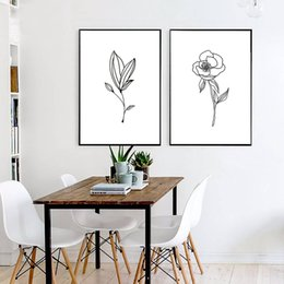 flowers posters canvas Coupons - Minimalism Curve Flower Picture Landscape Poster Wall Art Canvas Print Painting Living Room Modern Nordic Style Home Decoration