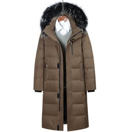 2019 зимние пальто Men Down Coat 2018 Russian Winter Extra Long Down Jacket Men's Casual Parkas Fur Collar Hooded Thicken Warm  Jackets дешево зимние пальто