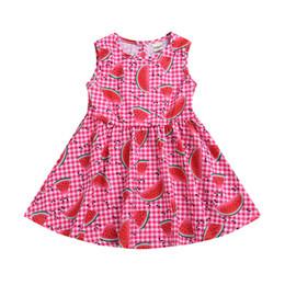 Canada Robe enfant fille sans manches Plaid Pastèque Print Robe en coton et lin à fleurs Printemps Eté supplier watermelon dress baby girls Offre