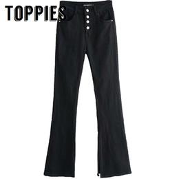 pulsanti a colori Sconti Jeans a campana a campana a vita alta Jeans a bottoni neri con bottone a tinta unita Pantaloni in denim a vita bassa vintage a figura intera Streetwear