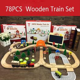 Giorni di traccia online-Treno di legno Pista Giocattoli Magical Brio Magnetic Rail Bridge Station Magnetic Car Ferrovia di legno educativo per bambini Day Gifts J190525