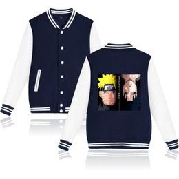 naruto uzumaki jacket Coupons - Autumn Winter Uzumaki Naruto Uchiha Sasuke Baseball Jacket Unisex Cartoon Anime Hip Hop Harajuku Hoodies Fleece Sweatshirt