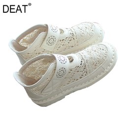 [DEAT] 2019 Nueva primavera verano solo punta redonda gancho de malla de encaje ahueca hacia fuera los zapatos planos simples mujeres moda marea 10B148 desde fabricantes
