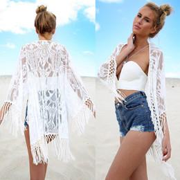 biquínis de borracha Desconto Noiva do laço de borracha Crochet Bikini Covers Beach Top Caidigan Praia Swimming Suit Covers Vestido
