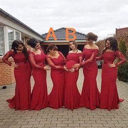 2019 arabische stil prom kleider Neue arabische afrikanische Art-rote Brautjungfern-Kleider plus Größen-Mutterschaft weg von den Schulter-langen Hülsen-Abschlussball-Kleidern Schwangere formale Kleider rabatt arabische stil prom kleider