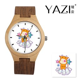 2019 holzuhr-logo YAZI Personalisieren Holzuhr Taurus Logo Uhren Natürliche Bambus Holz Fall Armbanduhren Holz Streifen Band Speicher Geschenk rabatt holzuhr-logo