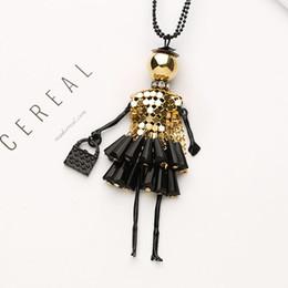Women Necklace Crystal Rhinestone Doll Beads Pendant Long Sweater Chain Jewelry
