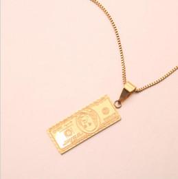2019 gold-dollar-schein Designer Schmuck Titan Stahl Anhänger Halskette 100 Dollar Bill Gold Anhänger 14K Gold Halskette für Frauen heiße Mode rabatt gold-dollar-schein