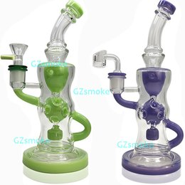 turbine bongs Coupons - Pink Purple Recycler Bong 10 Inch Fab Egg Heady Glass Oil Dab Rigs Turbine Perc Percolator Water Pipes Wax Dabber Bongs