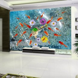 roll glitter paper Promo Codes - 3D space silk large mural wallpaper water flowers fish group beautiful and glitter wall paper roll