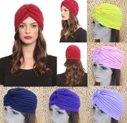 Wholesale Top Qualidade Stretchy Turbante Cabeça Envoltório Banda Sono Chapéu Chemo Bandana Hijab Plissado Cap Indiana Cores