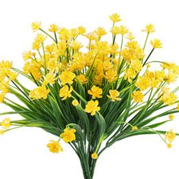 Cespugli artificiali online-Fiori finti artificiali, Narciso giallo finto Vegetali Arbusti Piante Cespugli di plastica Interni Esterni Sospesi Fioriera Cimitero Decorazioni