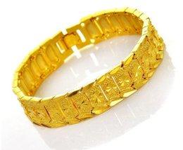 Venta caliente de procesamiento de latón puro para crear joyas chapadas en oro; Pulsera de imitación de oro para hombre. 20 cm de largo y 1,2 cm de ancho. desde fabricantes