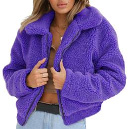 Largo cappotto del risvolto online-Cappotto invernale in pelliccia di lana con cappuccio in lana con cappuccio in lana invernale