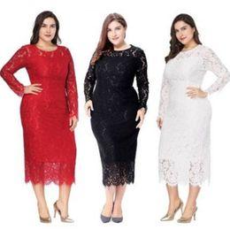 e061a9141 Mujeres de talla grande Vestidos de noche elegantes 2019 Vestidos de fiesta  de cóctel de encaje completo baratos Vestido formal de manga larga Robe De  ...