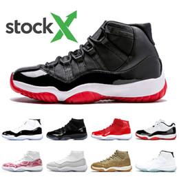 Stock récent 11s Bred x Nike Air Jordan Retro 11 femmes chaussures pour hommes de basket ball chapeau et robe Concord 2019 Snakeskin chaussures de