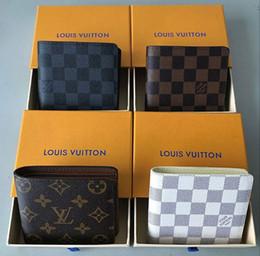 bolsa estilo caixa Desconto Paris xadrez estilo Designer mens carteira homens famosos carteiras de luxo lona especial múltipla curta pequena bolsa bifold com caixa