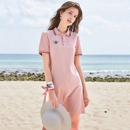 Vestidos bordados para senhoras on-line-Designer de mulheres vestido de marca 2019 verão de luxo novo de manga curta reta polo vestido de gola rosa abelha bordada senhora saia feminina