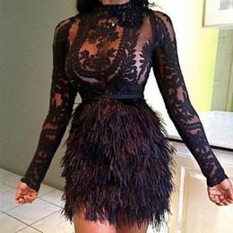 celebridad mini vestidos de plumas Rebajas Sexy ver a través de los vestidos cortos de baile Cuello alto Mangas largas Vestidos Vestidos de noche Vestidos de encaje y plumas por encargo Celebrity Cocktail Dress
