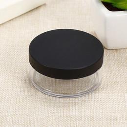 Kosmetische sichter pulver gläser online-50g Kunststoff Leer lose Puder-Topf mit Sieve Kosmetik Make-up-Glas-Container Handportable Sichter mit schwarzem Weiß Cap