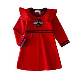 vestido de rayas rojas blancas para niños Rebajas 2019 El diseñador de la promoción Marca de verano Vestido de niña Niño Niños Ropa para niños Princesa Imprimir ropa Vestidos de algodón 28