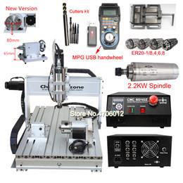 jigging-maschinen Rabatt 2200W 4-Achsen-CNC-Fräser 6040 2.2KW USB CNC-Fräsmaschine Wireless-Mach3 MPG hängendes Handrad Controller-Stich-Werkzeuge