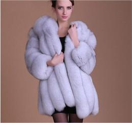 2019 cappotto di pelliccia di volpe di lusso Faux Fur Coat Winter Fake pelliccia di volpe giacca da donna Furry Luxury cuciture spessa cappotto caldo M342 sconti cappotto di pelliccia di volpe di lusso