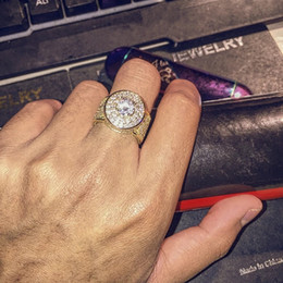 Grandes anillos de cristal online-Anillos de Hip Hop para hombre Joyas Oro Plata Helado Anillos grandes Cristal Piedras preciosas Anillos de diamantes para hombres