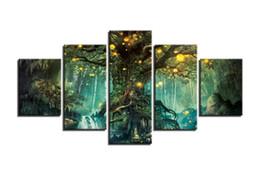 лесная лампа Скидка 5 шт. без рамы модульная холст фотографии Лесной светильник плакат HD печатает картины Home Decor для гостиной стены искусства