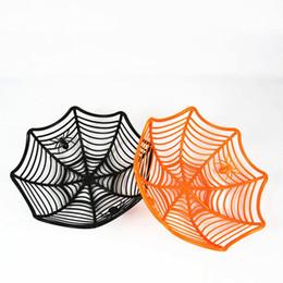 decoraciones de fiesta negro naranja Rebajas Suministros de Halloween Telaraña caramelo cesta Negro Naranja caramelo recipiente de plástico de caramelo Partido decoración de Halloween Box