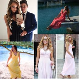 longos vestidos muito formal Desconto Vestidos de noite formais Long Ever-Pretty EP08110 Sexy Lady duplo V Neck Chiffon rosa vestidos de noite 2019 convidados do casamento vestidos