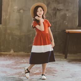 2 a 12 anos crianças adolescente big girls verão listrado patchwork algodão manga curta casual dress moda coréia crianças roupas supplier korea girls kids dress de Fornecedores de meninas coréia meninas vestido