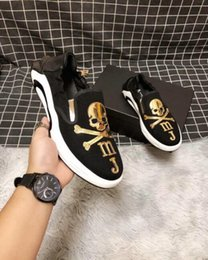 mens skull shoes Promo Codes - Italy designer mens runner causal shoes Slip on Skulls male mastermind sneakers Hombre Zapatos 38-44