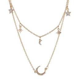 pingente de lua crescente do ouro Desconto Crescent Chifre Multilayer Cristal Vintage Mulheres Colar Pingente de ouro cores Beads Moon Star Choker colares Jewelr N1516