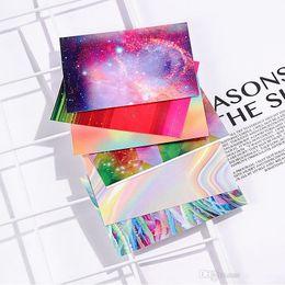 2019 tipos de estilos de unhas Prego Hot New 6pc / Set Aurora chama adesivo holográfico Nail Art Stickers Wraps DIY unhas Decoração Art 100lots Maquiagem