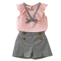 outfit grid Coupons - 2019 new baby girls chiffon outfits set chiffon T-shirt tops+grid shorts hot pant 2pcs clothing set baby girls fashion suit