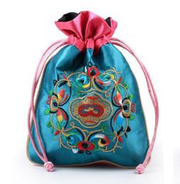 Bolso de seda hecho a mano chino online-16.5x12cm bolso de la joyería, bolso del regalo, bolsos de la joyería, color mezclado, estilo tradicional chino de la flor hecha a mano del bolso de seda