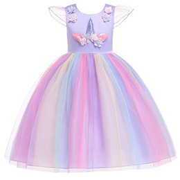 2019 nueva moda para niños ropa de diseñador Vestidos para niñas Unicornio princesa vestido floral Vestidos para niños Rainbow Vestidos Formales largos A2386 desde fabricantes