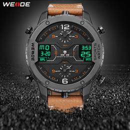 266b9c1146fd Weide Reloj deportivo para hombres Manos analógicas Calendario digital  Cuarzo Correa de cuero marrón Relojes de pulsera Reloj Hombre 2019 Reloj  militar ...