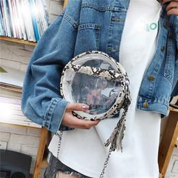 borse di pitone Sconti Borsa da donna a tracolla trasparente Modello semplice in vero pitone Trasparente Casual con cerniera Borse a tracolla Single Messenger per donna nuove