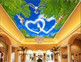 Murales en el techo 3d papel tapiz personalizado foto no tejida murales de pared amor romántico cenit ángel techo zenith mural decoración del hogar arte de la pared fotos desde fabricantes