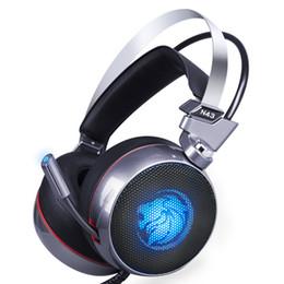 Giochi virtuali online-Zop N43 Stereo Gaming Headset 7.1 Virtual Surround Bass Gaming Cuffie con Microfono Led per Computer Pc Gamer J190507