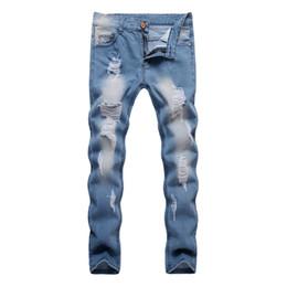 Herren Destroyed Broken Hellblaue Jeans Knöchellange Herren Gewand Washed Denim Pants Gebleichte Ripped Jeans Korean Fashion