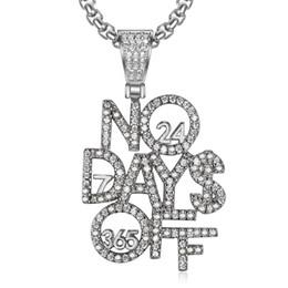 Geschenk-tage aus online-Hip Hop Iced Out Solide Brief Kein Ruhetag Anhänger Halskette Silber Überzogene Männer Charme Schmuck Geschenk