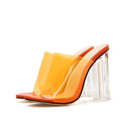 Saltos de mulheres laranja on-line-Sandálias das mulheres da moda verão rasa boca de Roma das mulheres casuais salto quadrado sandálias das mulheres de espessura-solado sapatos Nude e Laranja cores. LX-089